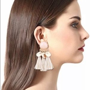 Gold and Taupe Shimmer and Tri-Tassel Earrings